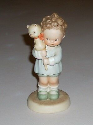 Memories of Yesterday Attwell Hang on to Your Luck Girl w/ Cat Figurine Enesco
