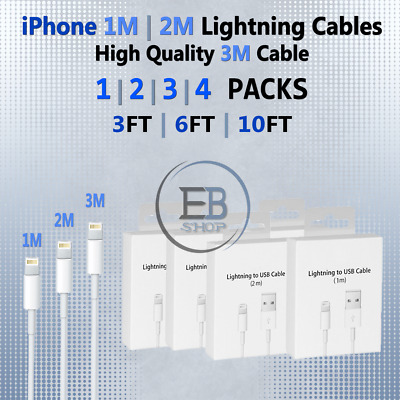 OEM Apple Lightning Cable 3FT 6FT 10FT MFi USB Cord Charger 1 2 3 4 PACKS Lot
