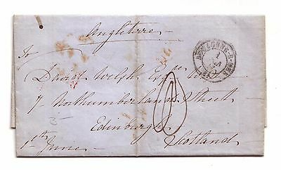 1848 Pre-stamp letter Boulogne-S-Mer, France to Edinburgh, Scotland