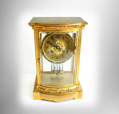 Japy Freres France clock with bejeweled dial - faux mercury pendulum