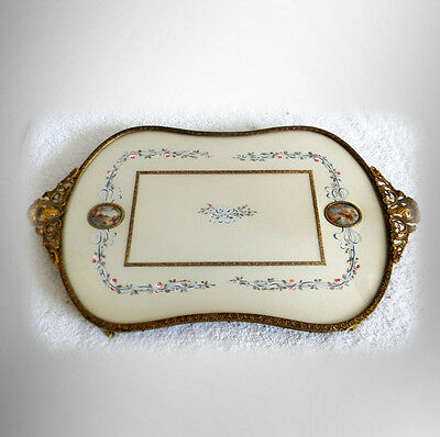 French bronze tray with silk under glass - two porcelain cameos