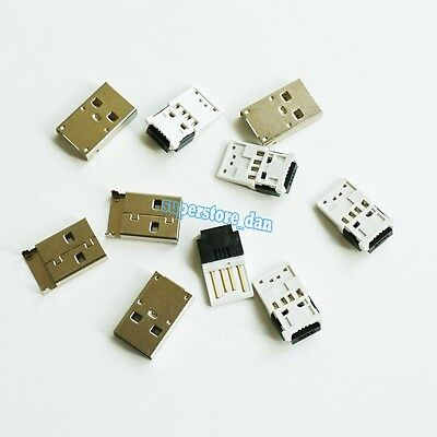 1Set USB 4 Pin Type-A Male 2-Piece NO Solder Connector Plug Short Metal Cover