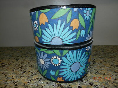 Vintage Hat Box Zipper Travel Case Wigs Hats Mod Blue floral Daisy