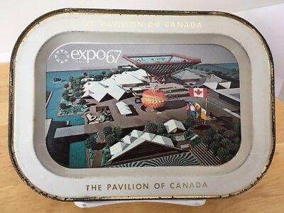 """Vintage Expo 67 Metal Tray With The Pavilion Of Canada Picture 5 1/8"""" x 7 1/8"""""""