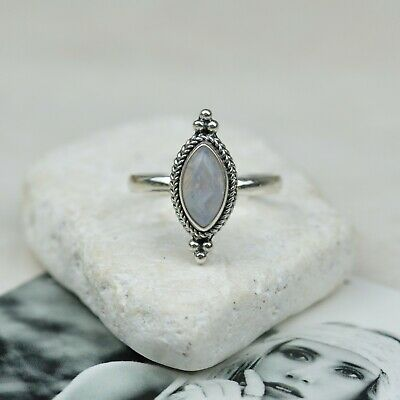 Sterling Silver Moonstone Twist Ring