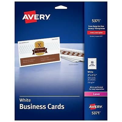 Avery Printable Business Cards, Laser Printers, 250 Cards, 2 x 3.5 (5371) NEW