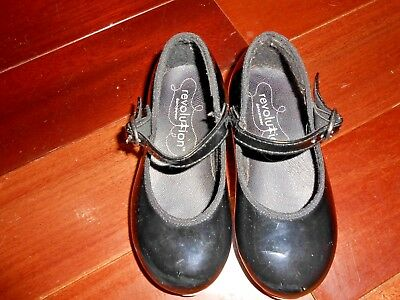 """Black Tap Shoes For The Youngster / 5-7/8"""" -- Tip Of Toe To Back Of Heel /8878"""