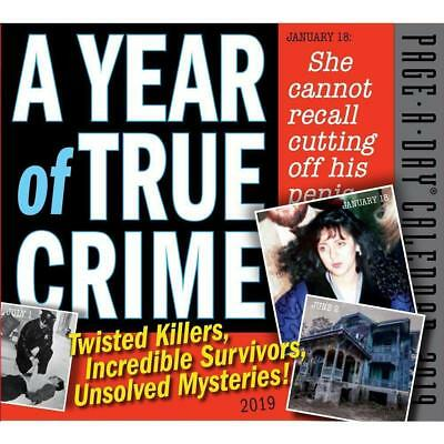 2019 Calendar, Year of True Crime Day-to-Day Boxed Desk Calendar, Browntrout