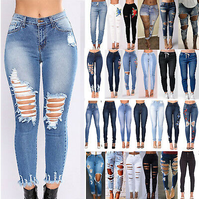 Womens Stretch Skinny Ripped Denim Jeans Jeggings High Waist Pants Long Trousers