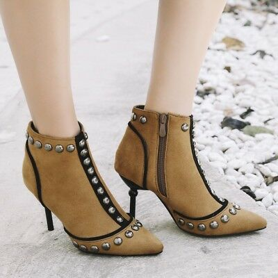 Womens Rivet Pointed Toe Patent Leather Block High Heels Ankle Boot Zipper Shoes