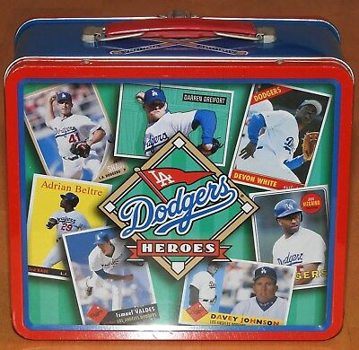 1999 Los Angeles Dodgers Heroes Stadium Metal Lunch Box Thermos Topps Cards SGA
