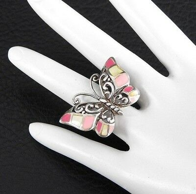 Vintage Ring Women Cocktail Butterfly Mother of Pearl Solid 925 Sterling Silver