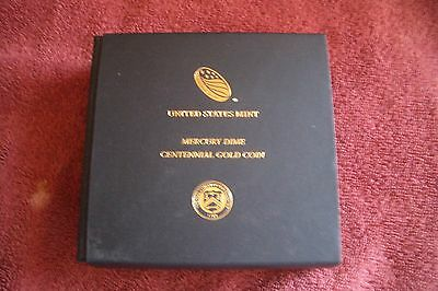 2016W 10C 24K Gold  Mercury Dime Centennial COA MINT PACKAGING(NO COIN)