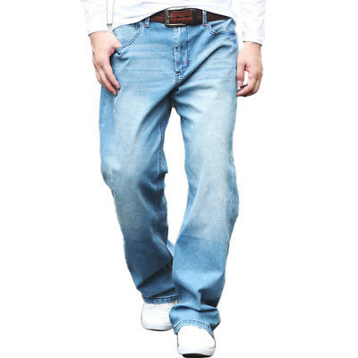 Light Blue Jeans for Mens Big and Tall Casual Relaxed Fit Straight Denim Pants