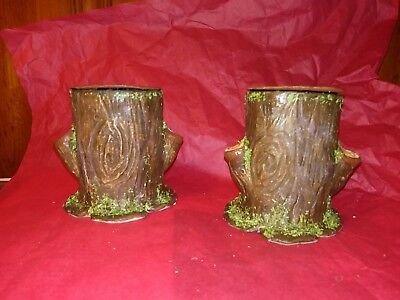 Lot 2 Paper Mache stump/log candy containers/ for displaying figures. medium