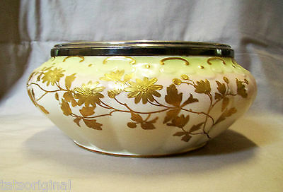 ANTIQUE PORCELAIN OLD HALL CENTER BOWL  GOLD GILT 1800s ENGLAND EXC CON