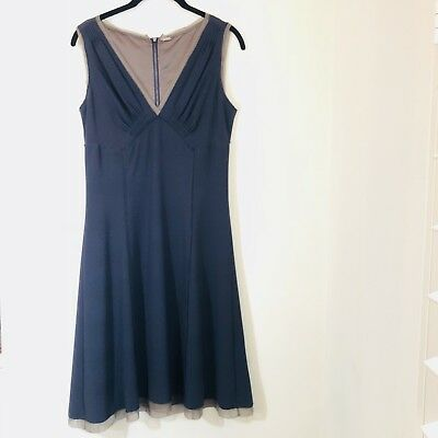 Elie Tahari sleeveless knee length navy dress Medium