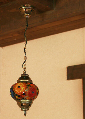 Single Chandelier Handmade Mosaic Hanging Lamp Light Ceiling Stained Glass (02)