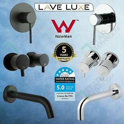 Bathroom Round Shower Spout Hot Cold Mixer Tap Twin Taps Chrome Black Brass Wall