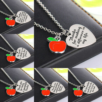 Apple Teacher Gift Heart Necklace Pendant Chain Jewellery Engraved Charm New