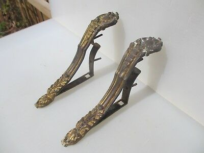 Large Antique Brass Curtain Pole Holders Brackets Victorian Old Gilt Leaf Drapes