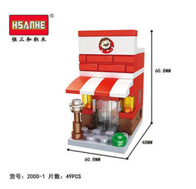 HSANHE Mini Street KFC Fast Food Store Figures Nano Blocks Diamond Building Toy