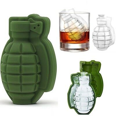 2X(Grenade Shape 3D Ice Cube Mold Maker Bar Party Silicone Trays Mold Tool I3L3)