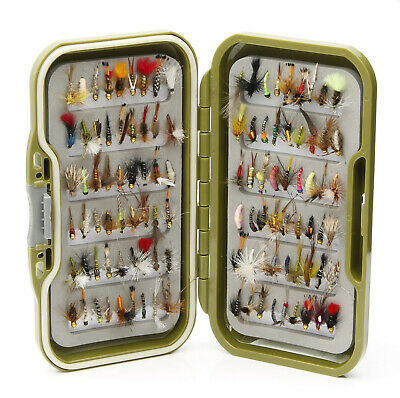 Waterproof Fly Box Mixed Trout Flies Wet Dry Nymphs Buzzers for Fly Fishing