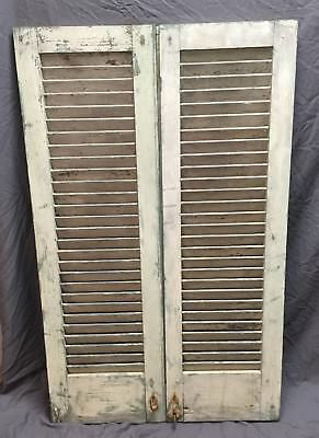 Pr Antique House Window Wood Stationary Louvers Shutter Shabby Old Chic 370-18E