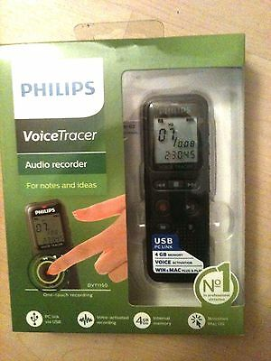 NEW Philips Voice Tracer AUDIO RECORDER DVT1150 4GB USB PC Link