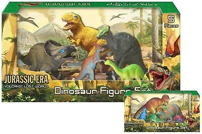 5 Pieces Jurassic Era Volcanic Lost World Dinosaur Action Figure PlaySet Toy New