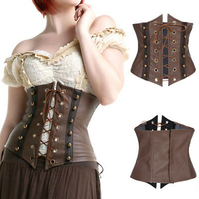 Brown Faux Leather Gothic Steampunk Waist Shaper Corset Underbust Bustier