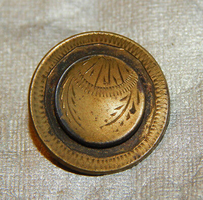 Antique Vintage  Button Brass Etched  #127-B