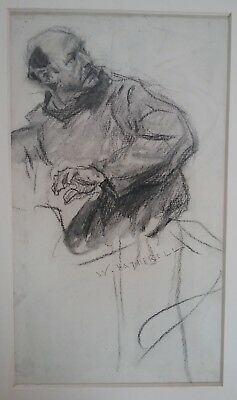 Victorian pencil drawing of a man by William Hatherell