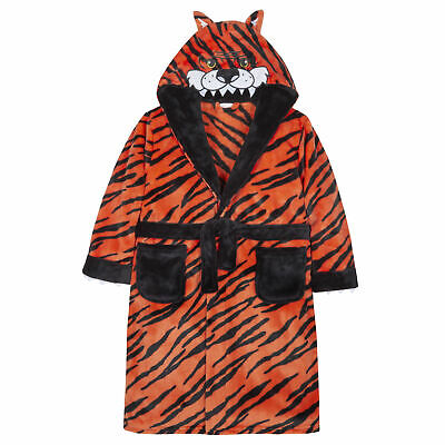 Boys Tiger Dressing Gown Robe Plush Fleece Soft Animal Childrens Hooded Novelty