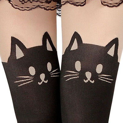 Lady Enticing Cat Tail Tattoo Printed Knee High Tights Stockings Pantyhose HOT