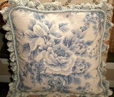 """Vtg Blue Floral Hand-Needlepoint on Wool Pillow (16"""" X 16"""")  Homage to Aubusson"""