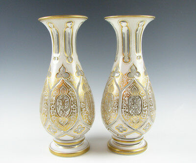 Pair of Antique White Cut to Clear Overlay Vases with Lots of Gold