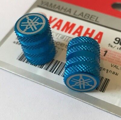 2 x Yamaha Tyre Wheel Dust Valve Caps Tuning Fork BLUE ** GENUINE & UK STOCK **