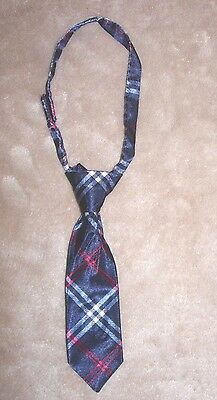 "Baby boys infant red & blue plaid necktie neck tie-6.5"" from knot top to tip"