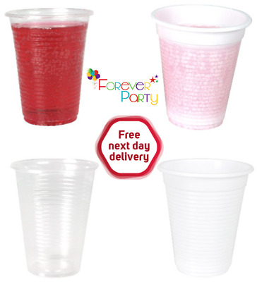 Plastic White & Clear Disposable Cup Cups 7oz 180cc 200ml Birthday Party Event