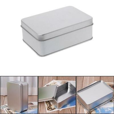 1X Small Metal Tin Silver Storage Box Case Organizer For Money Coin Candy Key UK
