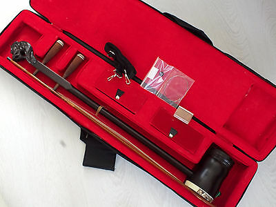 Chinese Dragon Musical Instrument Maple Wood Gaohu 2 String Erhu Violin Case