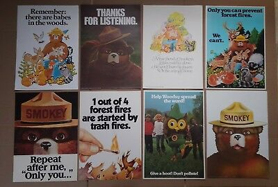 8 Vintage US Fire Prevention Posters Smokey The Bear 70's Woodsy Owl