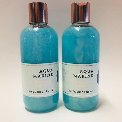 2 Bath & Body Works Mineral Co Aquamarine 2 in 1 Bubbly Wash Bath Milk 10 fl.oz