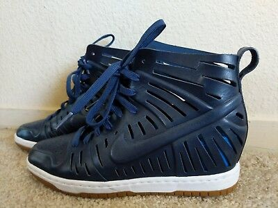 Nike women s Dunk Sky Hi 2.0 Joli wedges shoes sz 7.5 Navy and bright blue   150 d989fe541