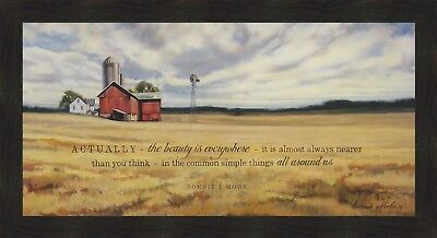THE BEAUTY by Bonnie Mohr 22x40 FRAMED PICTURE Red Barn Farm Silo Windmill PRINT
