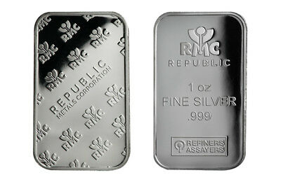 1 oz Silver Bar RMC - Republic Metals Corp .999 Fine Silver | Refiners Assayers