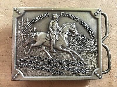 Vintage 1976 Levis Strauss & Co. Brass Belt Buckle Horsemans Favorite Garments