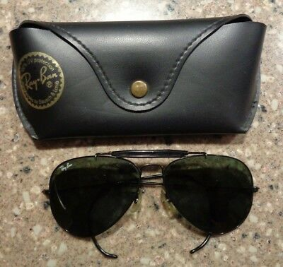 Vintage Authentic  Ray Ban B&L USA Aviator Black Shooter Wrap Around Sunglasses